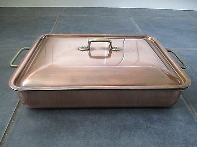 Large Oblong Vintage Italian Copper Roaster With Lid Very Good Con By Ruffoni !!