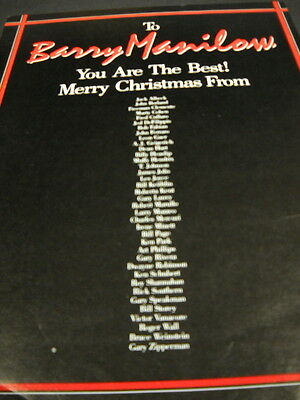 BARRY MANILOW You Are The Best! MERRY CHRISTMAS from... 1982 PROMO DISPLAY AD