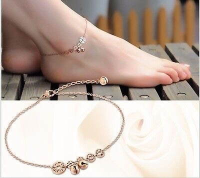 Stainless Steel Rose Gold Foot Jewelry Womens Anklet Coin Bell Ankle Bracelet NP
