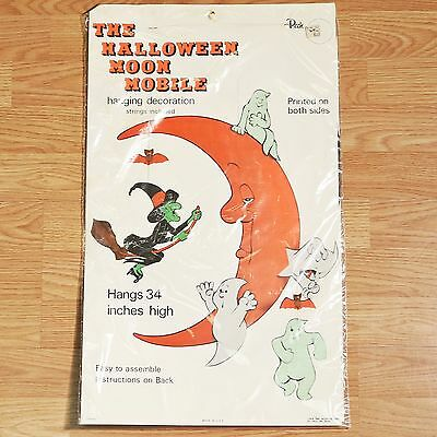 """Halloween Moon Mobile Die Cut Decoration 34"""" Peck Vtg Sealed - Witch Ghost Moon"""