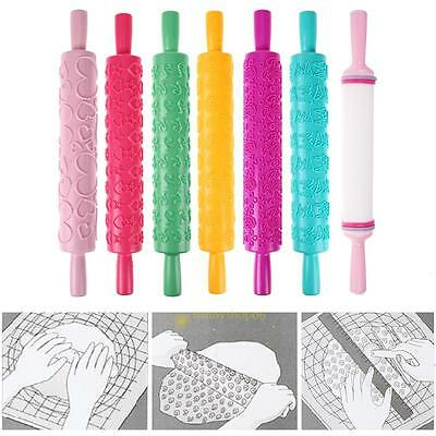 1pc Fondant Cake Baking Tools Decorating Roller Rolling Pin Embossed Flower Mold