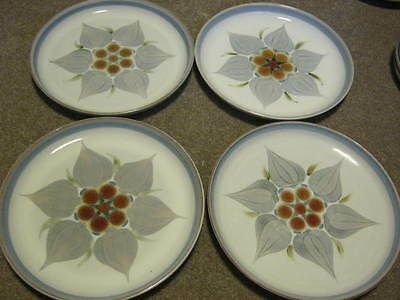 Denby Chatsworth Dinner Plates x 4 - light blue rims
