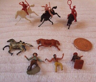 Job Lot Vintage Wild West Figures *** Cowboys And Indians *** Small Figures