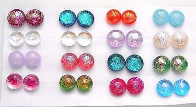 FOR POST EARRINGS TINY Lot 32 pcs round gorgeous DICHROIC FUSED GLASS (G12)