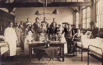 WW1 Wounded soldier Nurse Orderly VAD nurse in Auxiliary military hospital ward