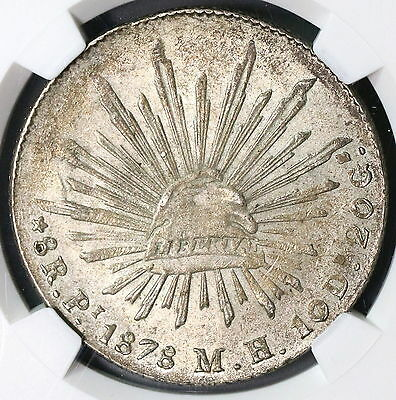1878-Pi NGC MS 62 MEXICO Silver 8 Reales Coin POP 1/3 (17021401C)