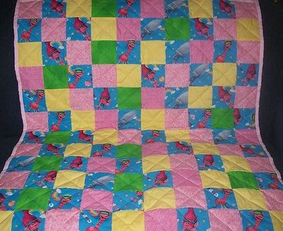 "Handmade Baby Girl Crib Quilt, Features The Trolls characters, 39"" x 44.5"""