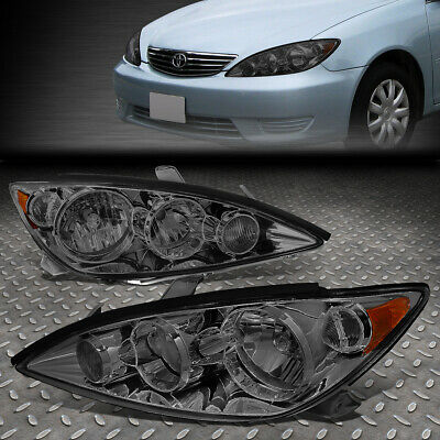 For 2005-2006 Toyota Camry Pair Smoked Housing Amber Corner Headlight/lamp Set