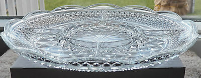 Wexford - Anchor Hocking 5 Section Dish Clear Glass Elevated Criss-Cross Design
