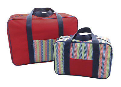 Country Club 2 Pack Cooler Bag Set Stripe Duo Twin Set Picnic Lunch Travel Cool