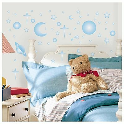 CELESTIAL GLOW in the DARK 258 Wall Stickers Stars Planet Moon SPACE Room Decals