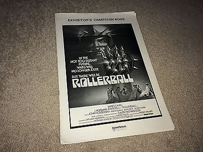 ROLLERBALL Orig Movie Pressbook 1975 James Caan Future Sports Sci-Fi Action UK