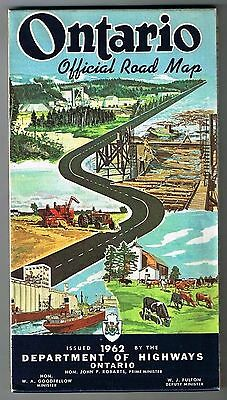 Ontario Road Map Official Department of Highways 1962