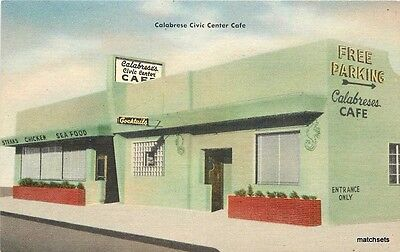 1940s San Diego California Calabrese Civic Center Cafe roadside Adprint 4094