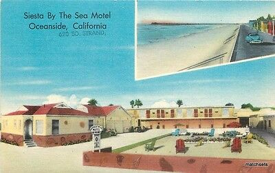 1940s San Diego California Siesta by Sea Motel Nationwide postcard 4092