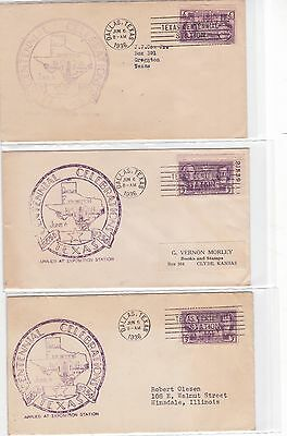 #776 Dallas TEXAS Centennial 3 Covers 6/6/1936 OFFICIAL Openning Date !!