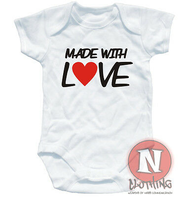 MADE WITH LOVE funny cute sweet babygrow baby shower suit vest maternity gift