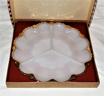 VINTAGE FIRE KING GLASS Anchor Hocking White Gold DIVIDED 3 SECTION RELISH DISH
