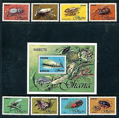 Ghana 1349-1357, MNH, Insects Moths Beetles 1991. x26112