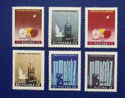 POLAND- 1955 World Youth Festival - Set of 6 - MNH