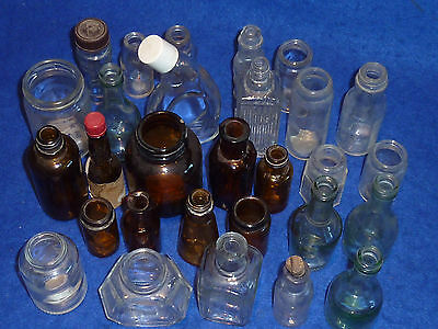 LOT ancien FLACON VINTAGE recipient FIOLE en VERRE glass GLAS flask ALT FLASCHE