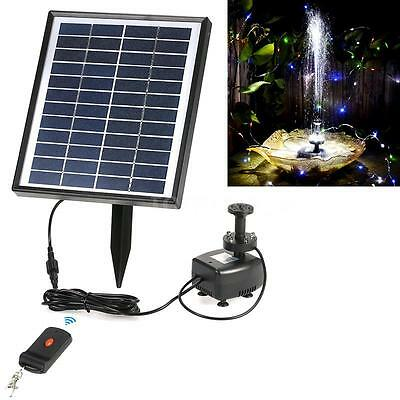 Anself Solar Panel Power Water Pump Fountain LED Light Remote Control Pond Z6P9