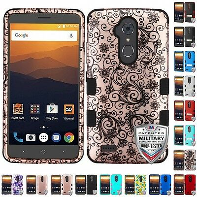 For ZTE Max XL Blade Max 3 Hybrid TUFF IMPACT Phone Case Hard Rugged Cover