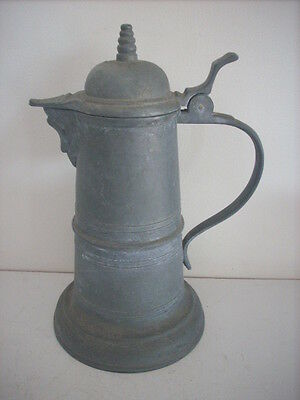 Very Large Vintage Pewter Jug Angel Mark Probably German