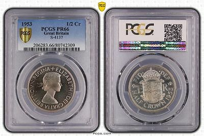 1953 PR66 Great Britain 1/2 Crown S-4137 PCGS GRADED