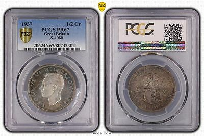 1937 PR67 Great Britain 1/2 Crown S-4080 PCGS GRADED