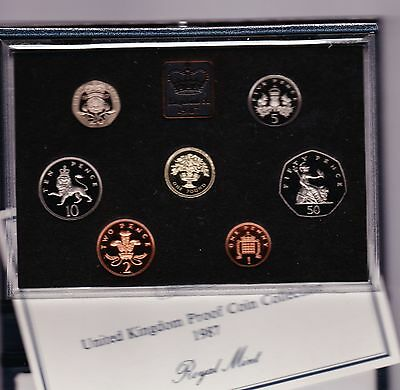1987 Standard Proof Set Of 7 Coins With Certificate And White Outer