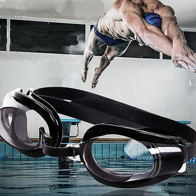 Nose Clip + Ear Plug + Anti fog UV Swimming Swim Goggle Adjustable Glasses Black