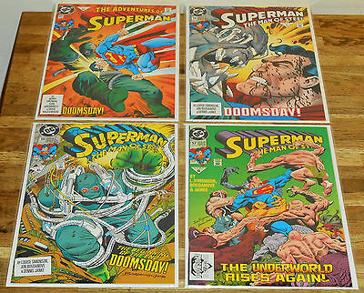 4x SUPERMAN MAN OF STEEL no.17 18 19 + ADVS 497 lot DC 1992 key 1st app DOOMSDAY