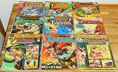 9x Vintage TARZAN COMICS lot DC & Marvel 1972 Edgar Rice Burroughs John Carter