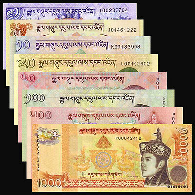 Bhutan Set 8 PCS, 1+5+10+20+50+100+500+1000 Ngultrum,2008-2013, P-27-34, UNC