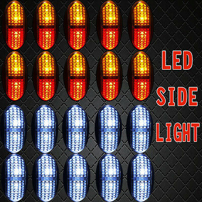 10X Red/Amber + 10X White LED CLEARANCE LIGHTS SIDE MARKER LAMP TRAILER TRUCK