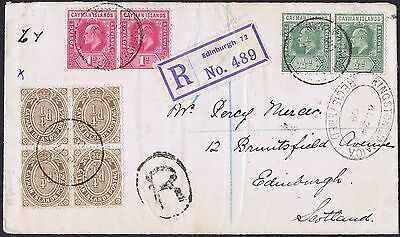 1908 Cayman Islands to Scotland 1d x 2, 1/2d x 2 and Block 1/4d Registered