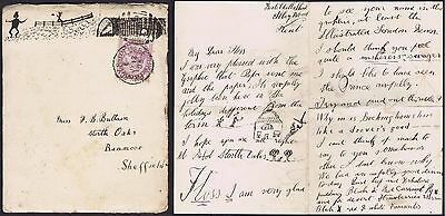 1885 Picardy Belvedere Duplex Hand Drawn envelope contents Roast Beef Yorks pud