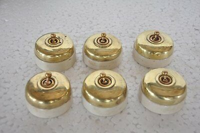 6 Pc Old Vintage Vitreous Brand Brass & Ceramic Electric Switches , Britain
