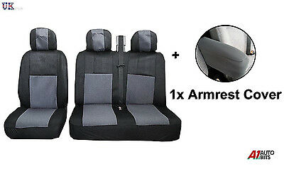 2+1 Grey Soft Fabric Seat & Armrest Covers Set For Ford Transit Transit Custom
