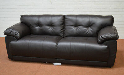 Clearance - Sienna Brown Leather 3 Seater Sofa - T3808