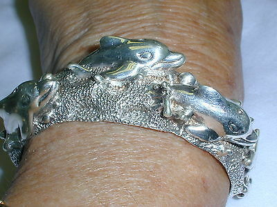 Fab! Designer D. Molina -Taxco Mexican Sterling Dolphin Cuff Bracelet- 64 + Grms