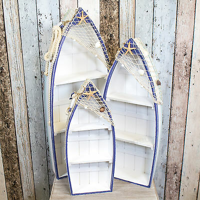 Nautical Shelving Unit Bathroom Storage Wooden Rowing Boat Shelves Seaside Decor