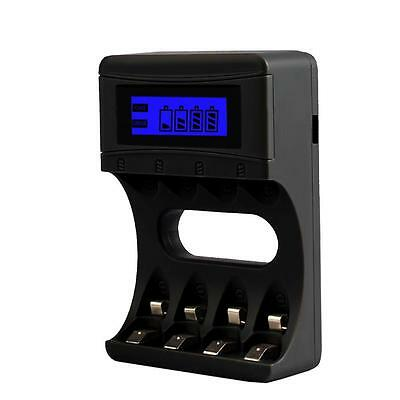 Black 4 Slots LCD Display Intelligent Battery Charger For AA / AAA Batteries