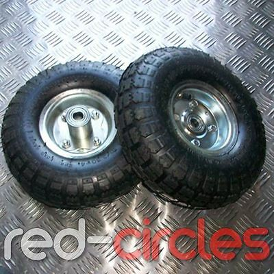 "PAIR OF 10"" INCH PNEUMATIC SACK TRUCK WHEELS & TYRES 16mm AXLE"