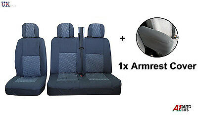 2+1 Grey Premium Fabric Seat & Armrest Covers For Vw Volkswagen Caddy Vw Van