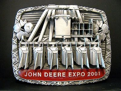 John Deere 2001 Australia Parts Expo Cotton Picker Pewter Belt Buckle SAMPLE jd