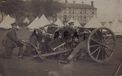 WW1 soldier group Royal Field Artillery RFA 18 Pounder Gun Drill in tented camp
