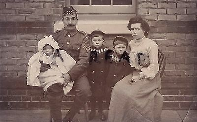 Soldier Sergeant 1st Batalion Royal Scots with wife & Family Folkestone