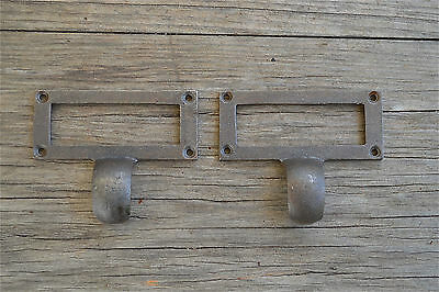 Pair of Edwardian style cast iron filing cabinet drawer pull label holder ZQ3